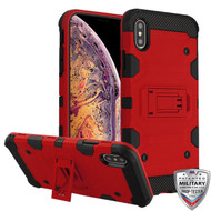 MyBat Storm Tank Hybrid Protector Cover [Military-Grade Certified] for Apple iPhone XS Max - Red / Black