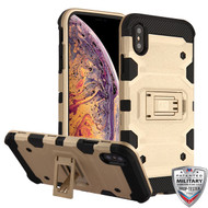 MyBat Storm Tank Hybrid Protector Cover [Military-Grade Certified] for Apple iPhone XS Max - Gold / Black