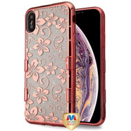 MyBat Full Glitter TUFF Hybrid Protector Cover for Apple iPhone XS Max - Electroplating Rose Gold Hibiscus Flower (Transparent Clear)