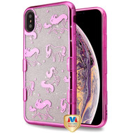 MyBat Full Glitter TUFF Hybrid Protector Cover for Apple iPhone XS Max - Electroplating Pink Unicorn Magic (Transparent Clear)