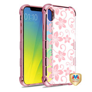 MyBat TUFF Klarity Candy Skin Cover for Apple iPhone XS Max - Rose Gold Plating & Hibiscus Flower