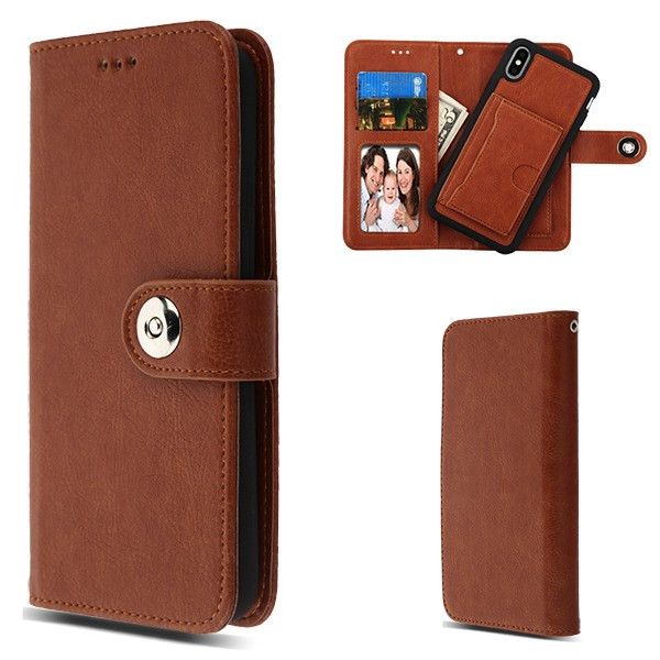 MyBat 2 - in - 1 Detachable MyJacket Wallet with Card Slots for Apple iPhone XS Max - Brown