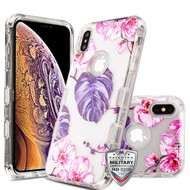 MyBat TUFF Lucid Hybrid Protector Cover [Military-Grade Certified] for Apple iPhone XS Max - Transparent Clear / Violet Monstera
