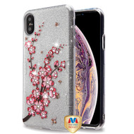 MyBat Full Glitter TUFF Hybrid Protector Cover for Apple iPhone XS Max - Spring Flowers Diamante