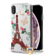 MyBat Full Glitter TUFF Hybrid Protector Cover for Apple iPhone XS Max - Paris Monarch Butterflies Diamante