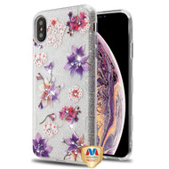 MyBat Full Glitter TUFF Hybrid Protector Cover for Apple iPhone XS Max - Purple Stargazers Diamante