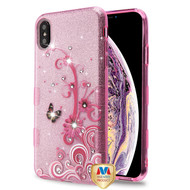 MyBat Full Glitter TUFF Hybrid Protector Cover for Apple iPhone XS Max - Butterfly Flowers (Pink) Diamante