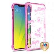 MyBat TUFF Klarity Candy Skin Cover (with Package) for Apple iPhone XS Max - Pink Plating & Unicorn Magic Diamante