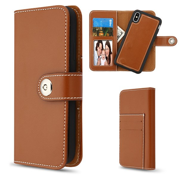MyBat Detachable Magnetic 2 - in - 1 MyJacket Wallet (TPU Case + Leather Folio) for Apple iPhone XS Max - Brown