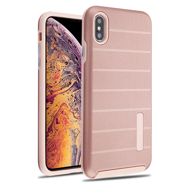 MyBat Fusion Protector Cover for Apple iPhone XS Max - Rose Gold Dots Textured / Rose Gold