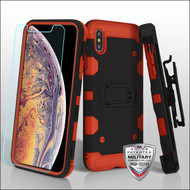 MyBat 3-in-1 Storm Tank Hybrid Protector Cover Combo (with Black Holster)(Tempered Glass Screen Protector)[Military-Grade Certified] for Apple iPhone XS Max - Black / Red
