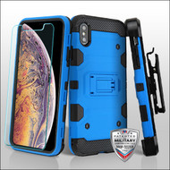 MyBat 3-in-1 Storm Tank Hybrid Protector Cover Combo (with Black Holster)(Tempered Glass Screen Protector)[Military-Grade Certified] for Apple iPhone XS Max - Blue / Black