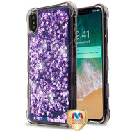 MyBat TUFF Quicksand Glitter Lite Hybrid Protector Cover for Apple iPhone XS Max - Purple Hearts