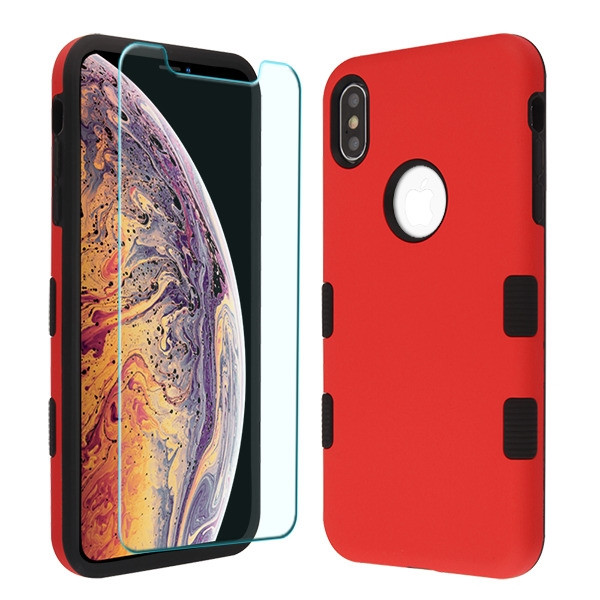 MyBat TUFF Lyte Hybrid Protector Cover (Tempered Glass Screen Protector) for Apple iPhone XS Max - Rubberized Red / Black