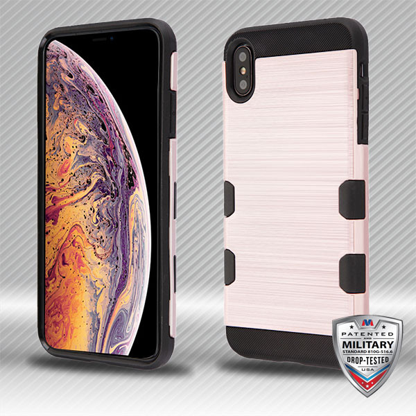 MyBat Brushed TUFF Trooper Hybrid Protector Cover [Military-Grade Certified] for Apple iPhone XS Max - Rose Gold / Black