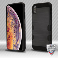 MyBat Brushed TUFF Trooper Hybrid Protector Cover [Military-Grade Certified] for Apple iPhone XS Max - Black / Black