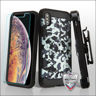 MyBat 3-in-1 Storm Tank Hybrid Protector Cover Combo (with Black Holster)(Tempered Glass Screen Protector)[Military-Grade Certified] for Apple iPhone XS Max - Urban Camouflage / Black