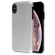 MyBat Fuse Hybrid Protector Cover for Apple iPhone XS Max - Silver Carbon Fiber Texture / Black