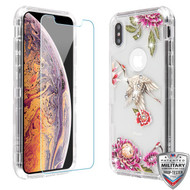 MyBat TUFF Lucid Plus Hybrid Protector Cover (Tempered Glass Screen Protector)[Military-Grade Certified] for Apple iPhone XS Max - Transparent Clear / Crane Diamante
