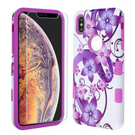 MyBat TUFF Lyte Hybrid Protector Cover (Tempered Glass Screen Protector) for Apple iPhone XS Max - Purple Hibiscus Flower Romance / Electric Purple