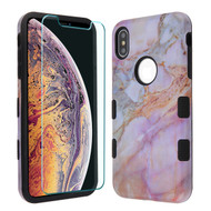 MyBat TUFF Lyte Hybrid Protector Cover (Tempered Glass Screen Protector) for Apple iPhone XS Max - Purple Marbling / Black