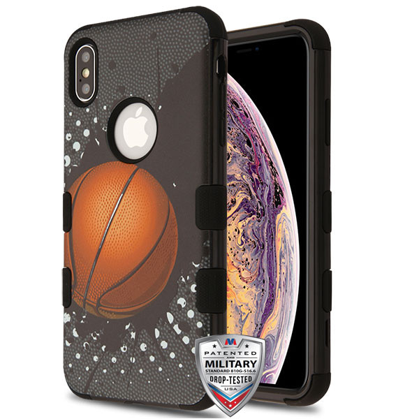 MyBat TUFF Hybrid Protector Cover [Military-Grade Certified] for Apple iPhone XS Max - Slam Dunk / Black