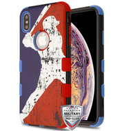 MyBat TUFF Hybrid Protector Cover [Military-Grade Certified] for Apple iPhone XS Max - Batter Up / Dark Blue and Red