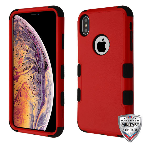 MyBat TUFF Hybrid Protector Cover [Military-Grade Certified] for Apple iPhone XS Max - Natural Red / Black