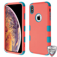 MyBat TUFF Hybrid Protector Cover [Military-Grade Certified] for Apple iPhone XS Max - Natural Baby Red / Tropical Teal