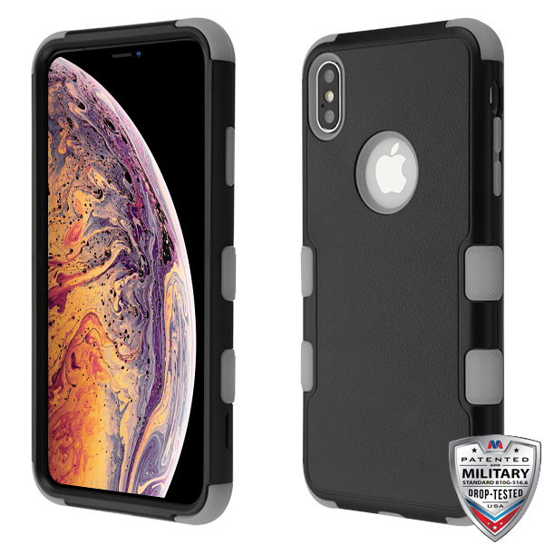 MyBat TUFF Hybrid Protector Cover [Military-Grade Certified] for Apple iPhone XS Max - Natural Black / Iron Gray