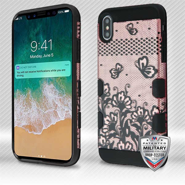 MyBat TUFF Trooper Hybrid Protector Cover [Military-Grade Certified] for Apple iPhone XS Max - Black Lace Flowers (2D Rose Gold) / Black