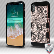 MyBat TUFF Trooper Hybrid Protector Cover [Military-Grade Certified] for Apple iPhone XS Max - Black Four-Leaf Clover (2D Rose Gold) / Black