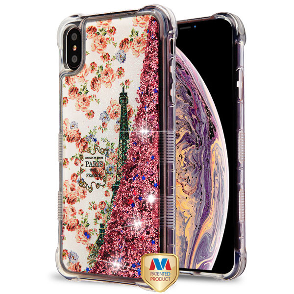 MyBat TUFF Quicksand Glitter Lite Hybrid Protector Cover for Apple iPhone XS Max - Paris in Full Bloom / Rose Gold Flowing Sparkles
