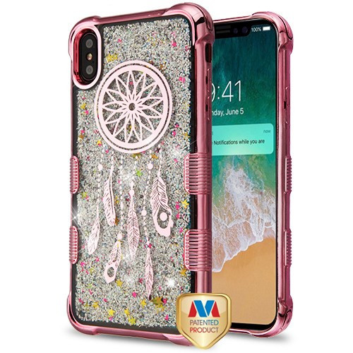 MyBat TUFF Quicksand Glitter Lite Hybrid Protector Cover for Apple iPhone XS Max - Rose Gold Electroplating / Dreamcatcher / Silver Flowing Sparkles