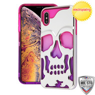 MyBat SKULLCAP Lucid Hybrid Protector Cover [Military-Grade Certified] for Apple iPhone XS Max - Silver Plating / Hot Pink / Purple