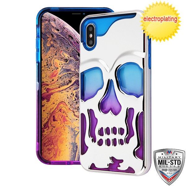 MyBat SKULLCAP Lucid Hybrid Protector Cover [Military-Grade Certified] for Apple iPhone XS Max - Silver Plating / Blue / Purple