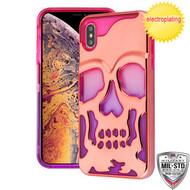 MyBat SKULLCAP Lucid Hybrid Protector Cover [Military-Grade Certified] for Apple iPhone XS Max - Rose Gold Plating / Hot Pink / Purple