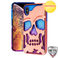 MyBat Skullcap Lucid Hybrid Protector Cover [Military-Grade Certified] for Apple iPhone XS Max - Rose Gold Plating / Blue / Purple