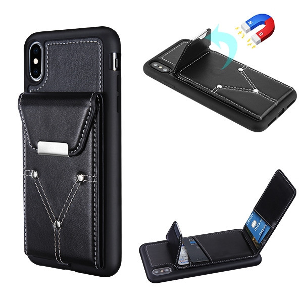 MyBat Buckle Wallet Cover (with Magnetic buckle) for Apple iPhone XS Max - Black