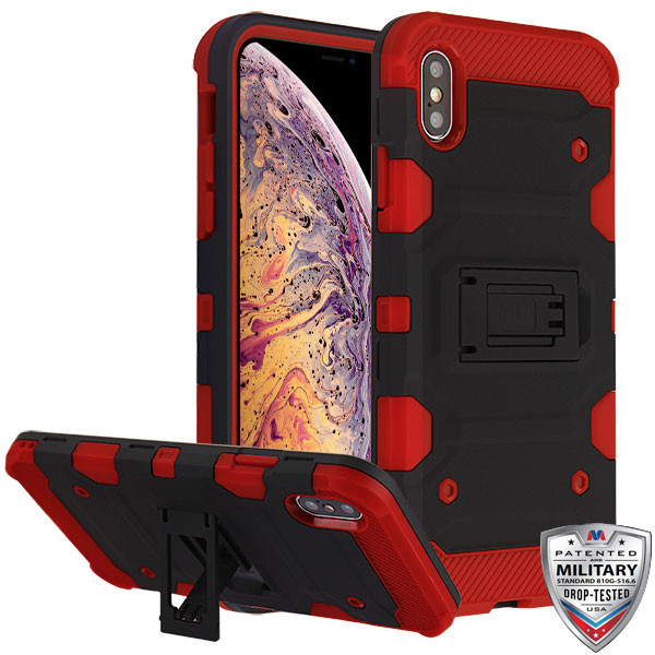 MyBat Storm Tank Hybrid Protector Cover [Military-Grade Certified] for Apple iPhone XS Max - Black / Red