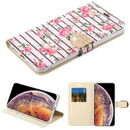 MyBat MyJacket Wallet Diamond Series for Apple iPhone XS Max - Pink Fresh Roses