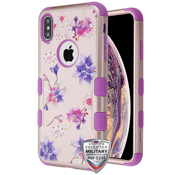 MyBat TUFF Hybrid Protector Cover [Military-Grade Certified] for Apple iPhone XS Max - Purple Stargazers Textured Rose Gold / Electric Purple