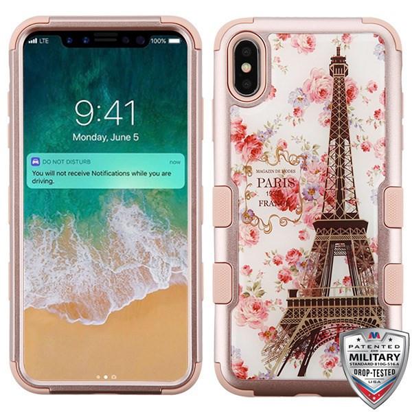 MyBat TUFF Krystal Gel Hybrid Protector Cover [Military-Grade Certified] for Apple iPhone XS Max - Paris in Full Bloom (Rose Gold) / Rose Gold