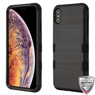 MyBat TUFF Hybrid Protector Cover [Military-Grade Certified] for Apple iPhone XS Max - Black Brushed / Black