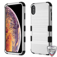 MyBat TUFF Hybrid Protector Cover [Military-Grade Certified] for Apple iPhone XS Max - Silver Brushed / Black