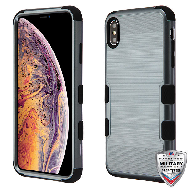 MyBat TUFF Hybrid Protector Cover [Military-Grade Certified] for Apple iPhone XS Max - Slate Blue Brushed / Black