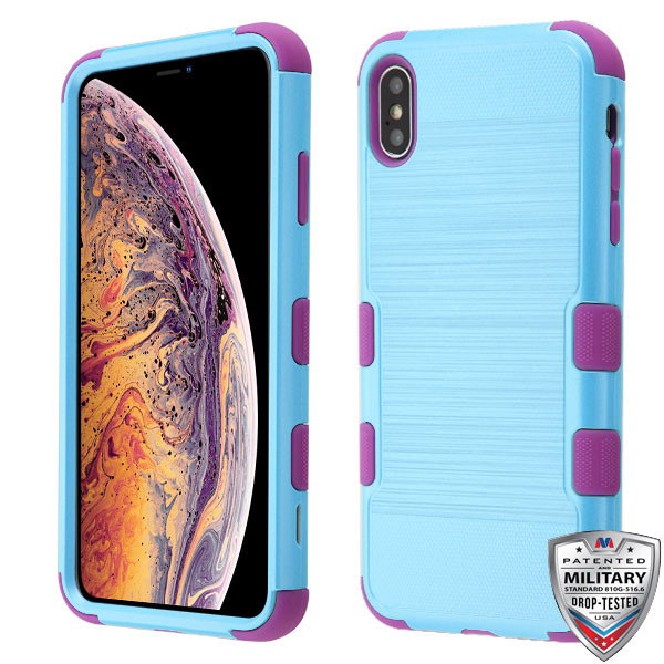 MyBat TUFF Hybrid Protector Cover [Military-Grade Certified] for Apple iPhone XS Max - Metallic Baby Blue Brushed / Electric Purple