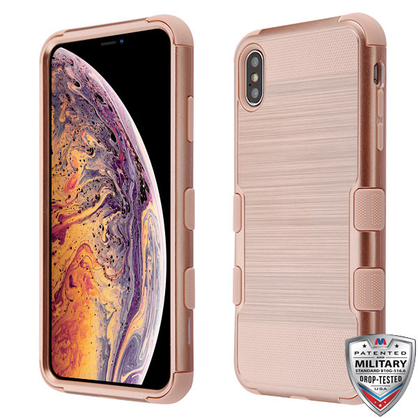 MyBat TUFF Hybrid Protector Cover [Military-Grade Certified] for Apple iPhone XS Max - Rose Gold Brushed / Rose Gold