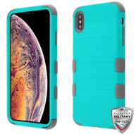 MyBat TUFF Hybrid Protector Cover [Military-Grade Certified] for Apple iPhone XS Max - Teal Green Brushed / Iron Gray