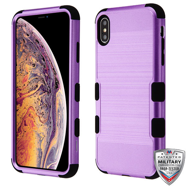 MyBat TUFF Hybrid Protector Cover [Military-Grade Certified] for Apple iPhone XS Max - Purple Brushed / Black